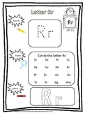 "Letter ""R"" Trace it, Find it, Color it.  Preschool printable worksheet. Daycare."