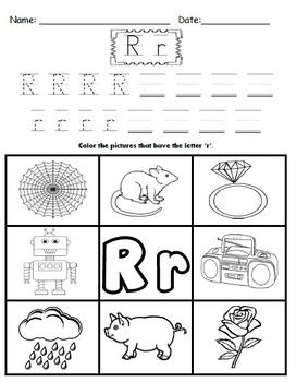 letter r worksheets by kindergarten swag teachers pay teachers. Black Bedroom Furniture Sets. Home Design Ideas