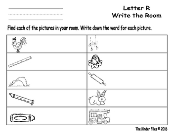 Letter R Write the Room- Includes 3 levels of answer sheets