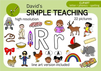 Letter R phonics - spelling clipart with free preview