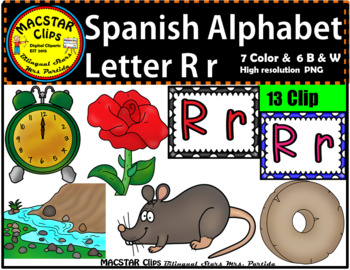 Letter R r Spanish Alphabet Clip Art   Letra Rr Personal and Commercial Use