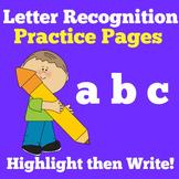 Letter Recognition | Preschool Kindergarten 1st Grade | Worksheets