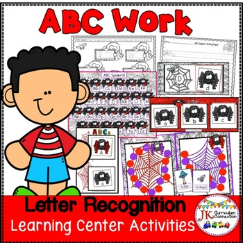 Letter Recognition! Spider ABC's Literacy Center Activities