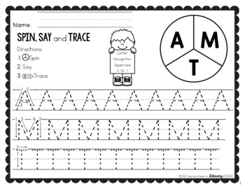 Letter Recognition Spin, Say & Trace Activity
