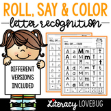 Letter Recognition Roll, Say & Color Activity