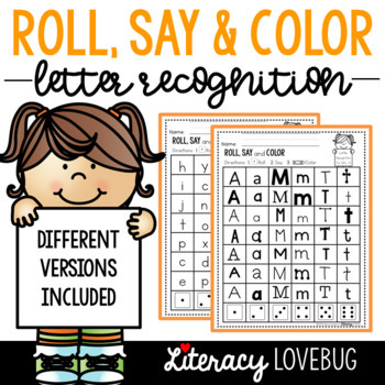 Letter Recognition Activity: Roll, Say & Color