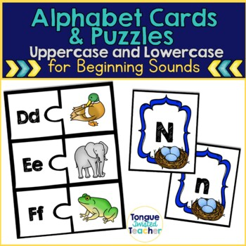 Letter Recognition Alphabet Cards and Beginning Sounds Puzzles
