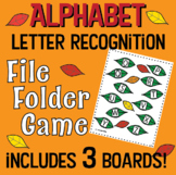 Letter Recognition- Alphabet- FILE FOLDER GAME- uppercase & lowercase-fall leaf