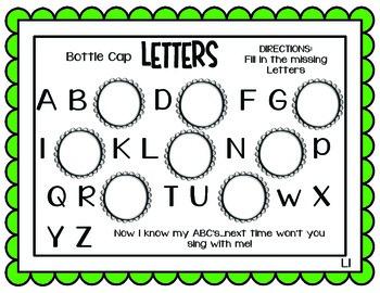 Letter Recognition Area Activity- Bottle Cap Letters