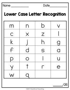 letter and sound recognition assessment letter recognition assessment by heartful of teaching tpt 13032