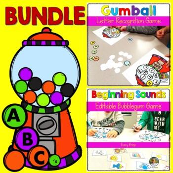 Letter Recognition Beginning Sound Bubblegum Game BUNDLE