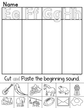 Letter Recognition: Beginning Sounds Centers and Printables