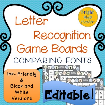 Letter Recognition Board Game with Varied Fonts-Editable