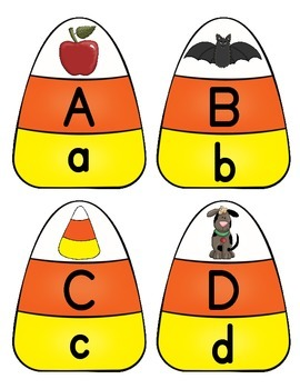 Alphabet Letter Recognition Candy Corn Puzzle Literacy Center Fall Harvest