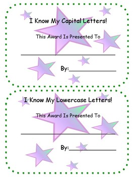 Letter Recognition Certificates (Half Page)