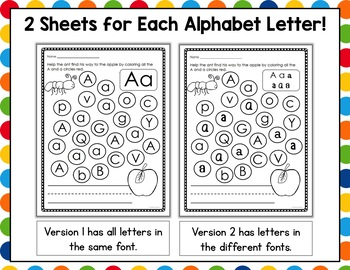 Letter Recognition - Color the Path Worksheet Packet