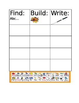 Letter Recognition: Find, Build, Write