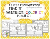 Letter Recognition Find, Write, Trace, Color, and Punch
