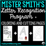 Letter Recognition Flashcards plus 26 coloring and 26 cutting pages