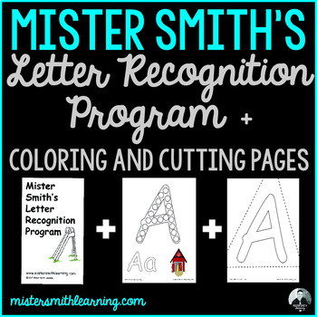 Letter Recognition Flashcards plus 26 coloring and 26 cutting pages Bundle