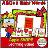 Letter Recognition Game- Apple Theme SWIPE {EDITABLE}