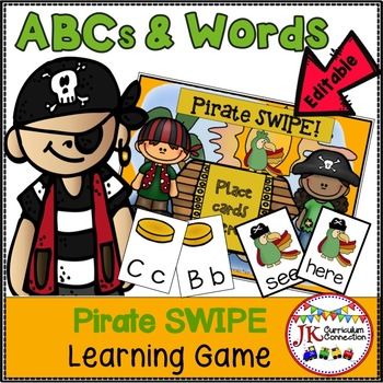 Letter Recognition & Sight Word Game - PIRATE SWIPE {EDITABLE}