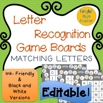 Letter Recognition Game Boards: Matching Letters- Editable