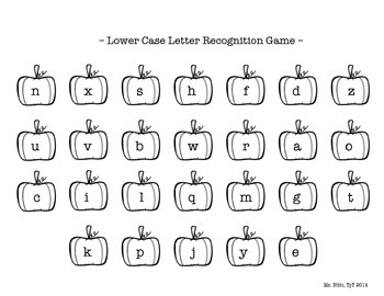 Letter Recognition Game - Pumpkin Themed