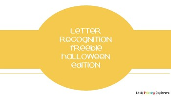 Letter Recognition Halloween Ed. FREEBIE