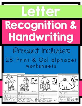 Letter Recognition & Handwriting: Print & Go! Worksheets