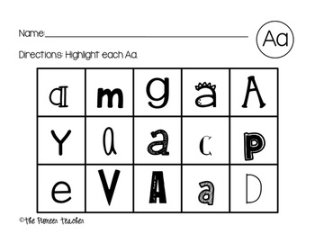 Letter Recognition (Highlight The Letter) Packet A-Z