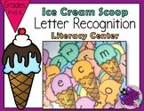 Letter Recognition - Ice Cream Literacy Center - BLACK LINE MASTER
