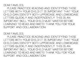 Letter Recognition Intervention [PARENT COLLABORATION]