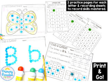 Letter Recognition & Letter Sound: Dab & Learn Print & Go Practice EDITABLE