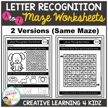 Letter Recognition Maze Worksheets