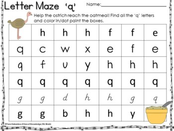 Letter Recognition Mazes {Lowercase Letters a-z}