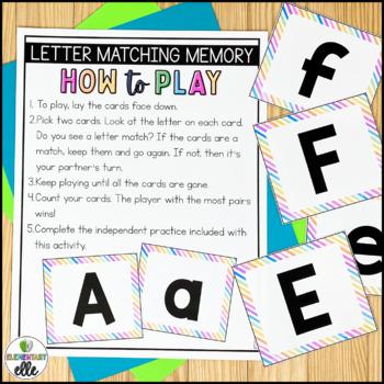 Letter Recognition Memory Match {Language Arts Mini-Center}