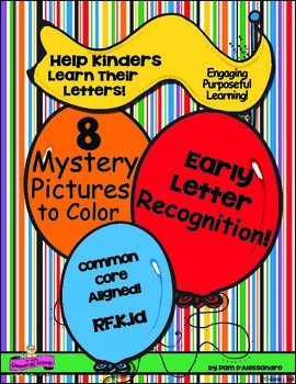 Letter Recognition -Beginning of the Year - 8 Mystery Pictures to Color