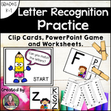 Letter Recognition Practice: Clip Cards, PowerPoint Game a