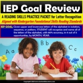 Letter Recognition Worksheets Review Packet for IEP Goals