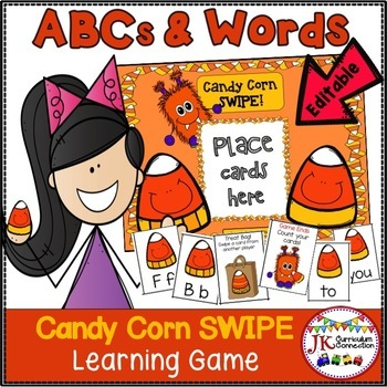 Letter Recognition & Sight Word Game SWIPE - Halloween Theme {EDITABLE}
