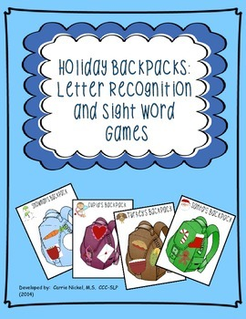 Letter Recognition & Sight Word Holiday Backpack Games