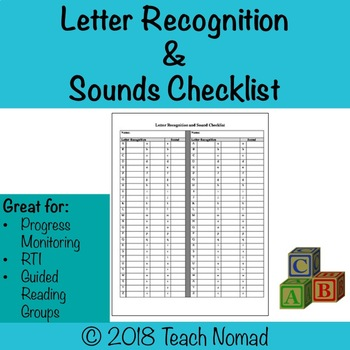 Letter Recognition & Sound Checklist for Guided Reading