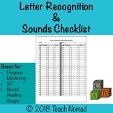 Letter Recognition & Sound Checklist (2 students/page)