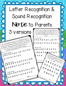 Letter Recognition & Sound Recognition Note for Parents