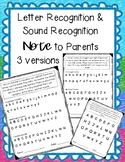 Letter Recognition & Sound Recognition Note for Parents
