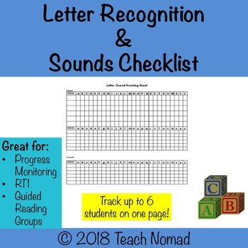 Letter Recognition & Sound Tracker (6 students/page)