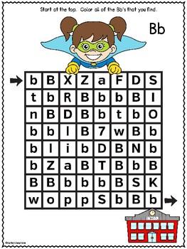 Letter Recognition Superhero (Letter B) Free