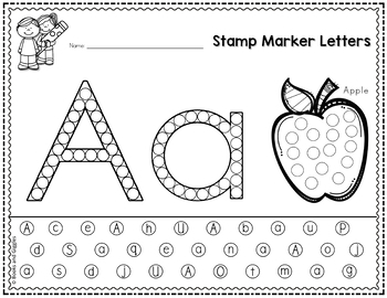 Letter Recognition Worksheets for Stamp Markers by Books and Giggles