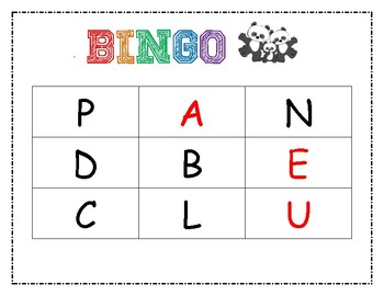 Letter Recognition and HFW Bingo - Animal Family theme
